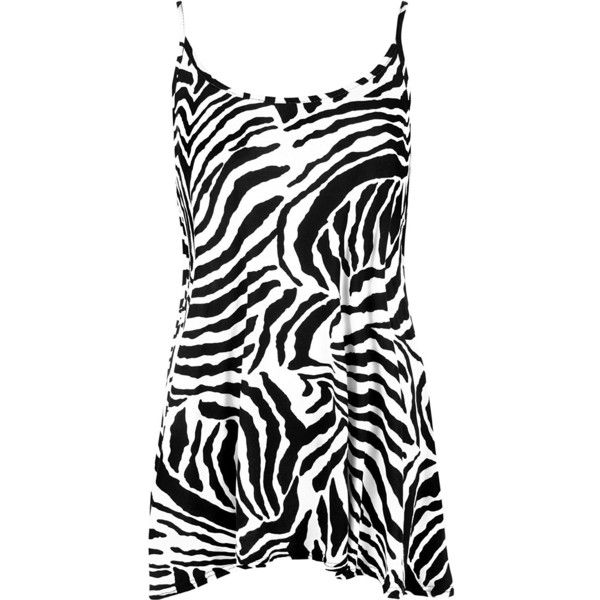 WearAll Women's New Strappy Zebra Animal Print Camisole Swing Vest Top found on Polyvore featuring polyvore, women's fashion, clothing, tops, camisole tank top, strappy cami, cami top, spaghetti-strap tank tops and camisole tank