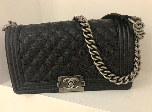 Chanel Classic Black Caviar Ruthenium Hw Le Boy Flap Bag Chanel Classic Bag Black Chanel Handbags Chanel Bag Black