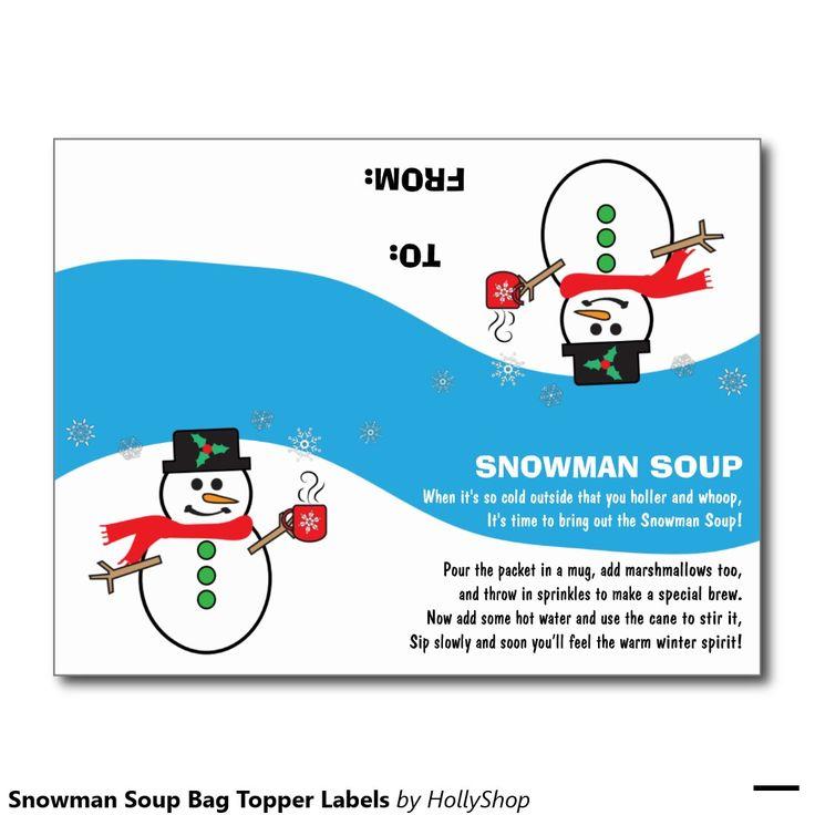 snowman soup bag topper labels postcard