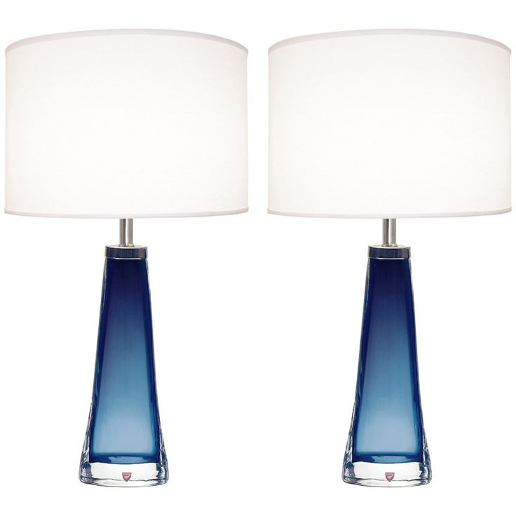 Pair of nils landberg for orrefors blue glass lamps blue glass lampglass lampsblue table lampbedroom