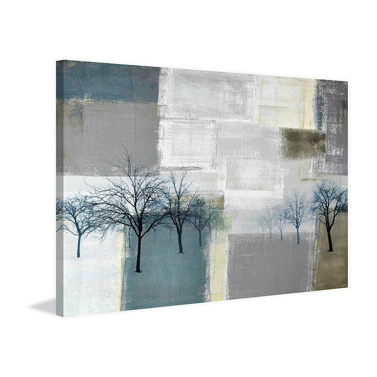 Best Blue Trees Painting Print On Wrapped Canvas Painting 400 x 300