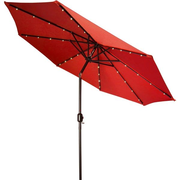 Elegant Trademark Innovations Deluxe 9 Foot Solar Powered LED Lighted Red Patio  Umbrella