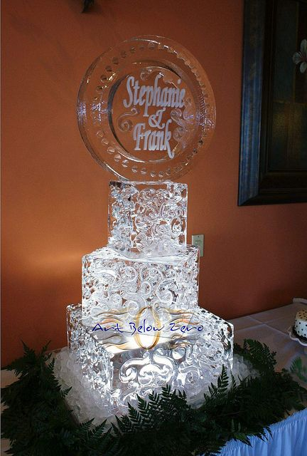 ICE SCULPTURES FOR WEDDINGS | Square Ice Cake in angles with names ice sculpture | Flickr - Photo ...