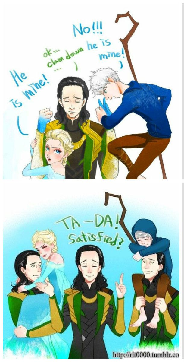 elsa and jack frost with loki :D #frozen #loki #riseofthegardians funny cute love this elsa and jack fighting over loki is so amazing its so asdfghjkl if you don't get it it's because they are all ice related WATCH THOR IF YOUR STUPID lol