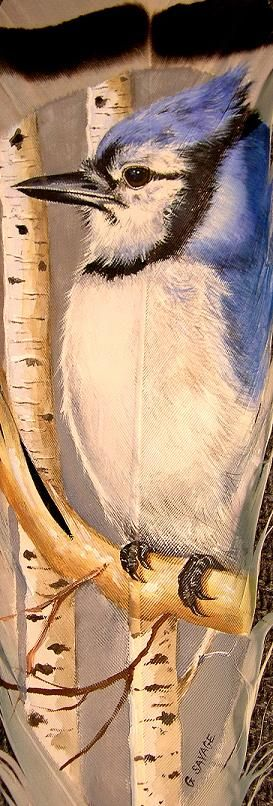 Winter Bluejay - a serene winter scene on a full-sized feather.