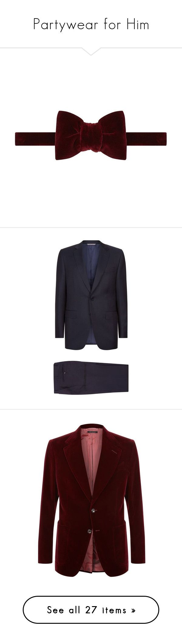 """Partywear for Him"" by harrods ❤ liked on Polyvore featuring men's fashion, men's accessories, men's neckwear, bow ties, men's clothing, men's suits, mens holiday suits, mens wool suits, mens tailored suits and canali men's suits"