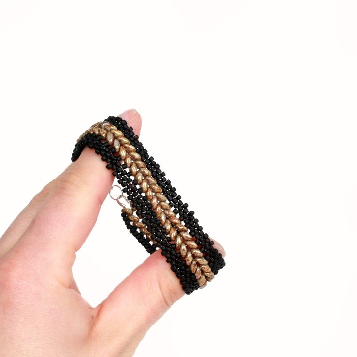 New to ShalaneHopkins on Etsy: Black and Brown Beadwoven Bracelet (63.00 NZD)