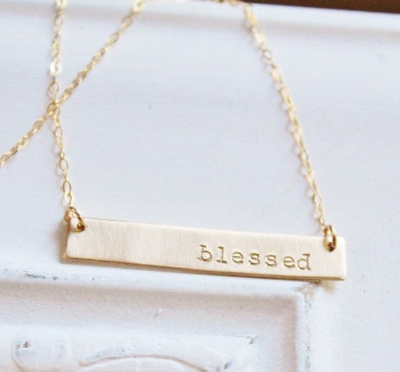 Gold Nameplate Necklace Gold Bar Necklace by TheSilverWren on Etsy