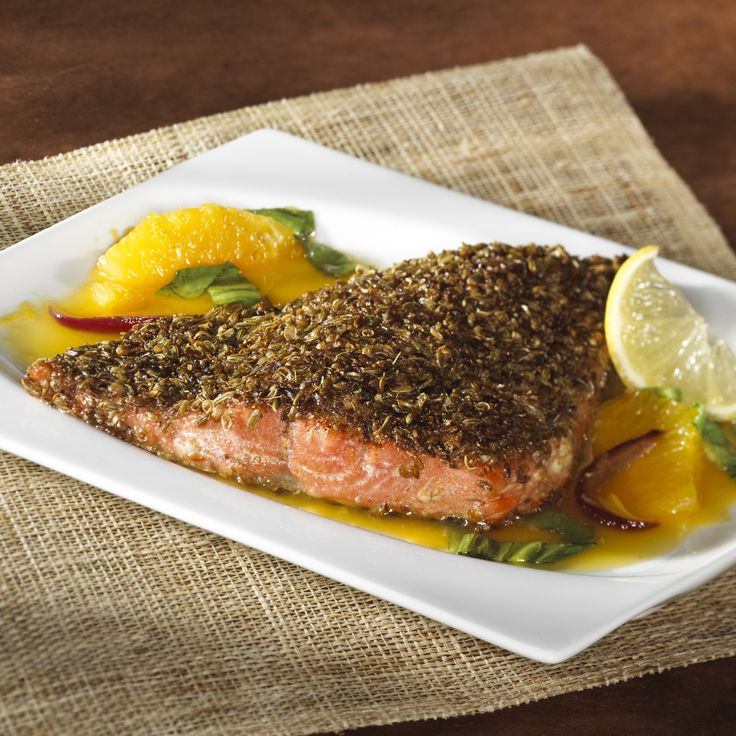 If you're looking to spice up your dinner, look no further than our Spice-Crusted Salmon with Orange-Honey Glaze. This great source of Omega 3s is packed with flavor brought on by a coat of orange juice, lemon juice, ginger, spices, and honey. Enjoy it over a bed of rice or with a side of greens.