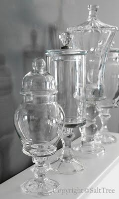 Make you're own apothecary jars?  While I got mine cheap at TJMAXX I bet this is cheaper and to say I made them, that's priceless. but if I needed a lot of them cheap, like for a party or wedding table top, this is the way to go.... Just recycling too, super great idea!  Brimfield fair here I come!
