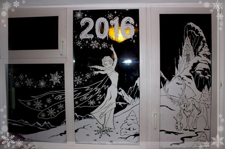 Christmas Window Decoration. Украшение окон к Новому году, вытынанки, вырезание из бумаги. Холодное сердце. Frozen. Шаблоны из бумаги.