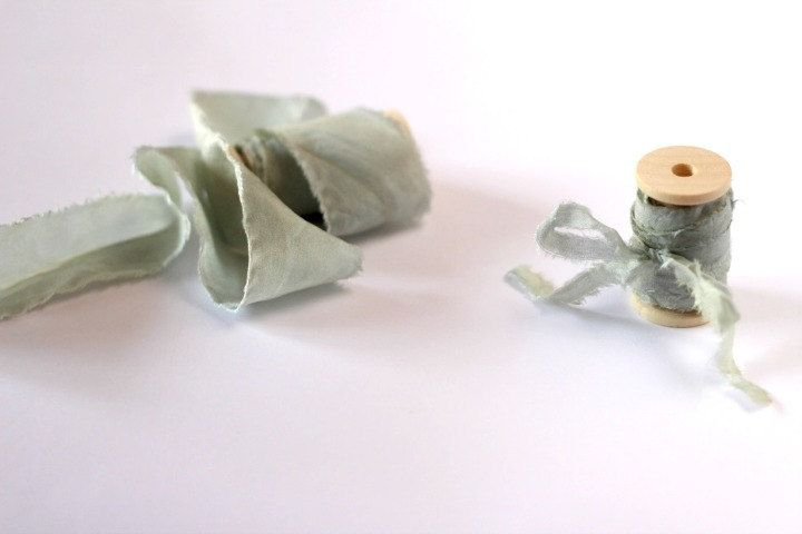 Light sage green hand dyed ribbon on wooden spool, 1/2 inch, 1 inch or 1.5…