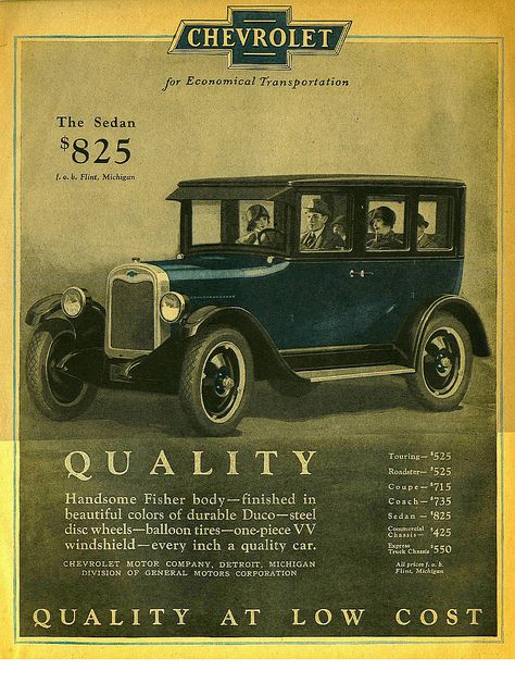 Chevrolet car ad - 1925  www.drivebaby.com Check out the price of this car... Unbelievable!