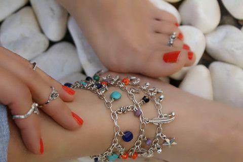 Damla Detaylı Renkli Boncuklu Halhal, Ayarlanabilir / Antik Gümüş, Halhal, Takimania - 1