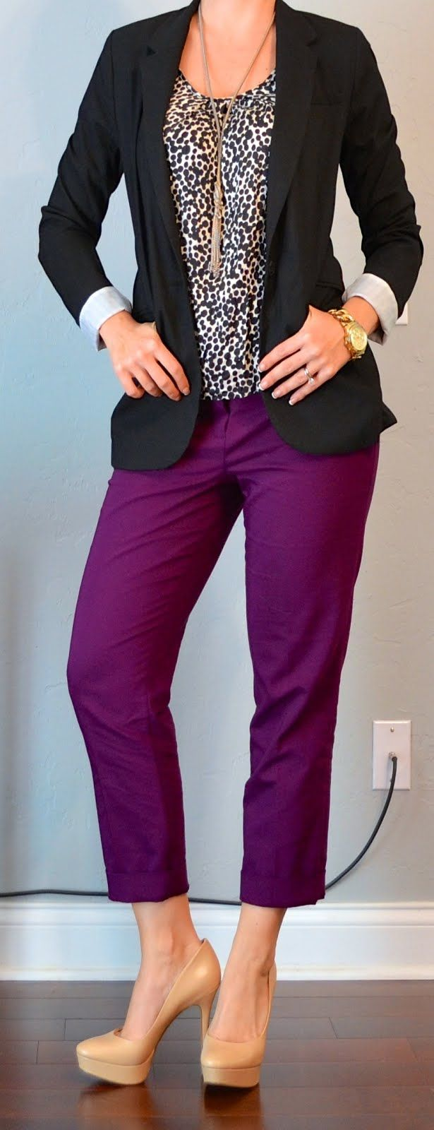 outfit post: black blazer, polkadot blouse, purple cropped pant