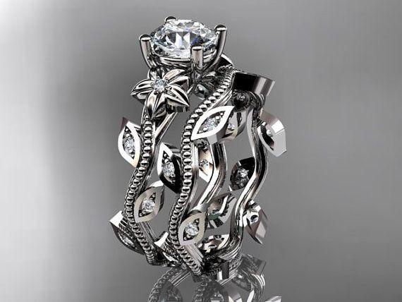 platinum diamond leaf and vine wedding ring,engagement ring,engagement setADLR151 on Etsy, $1,975.00