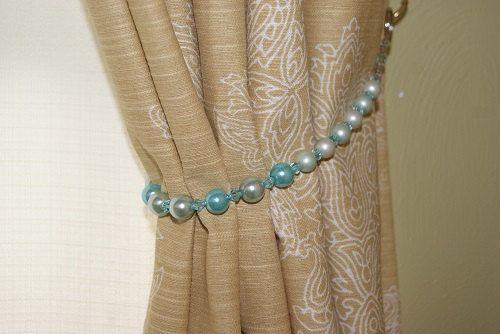 Hand Beaded Curtain Tieback in Turquoise Beads by MonicasHobbyShop, $20.00