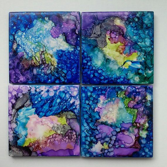 "Alcohol Ink Tile Coasters, 4.25"" x 4.25"", midnight blue"