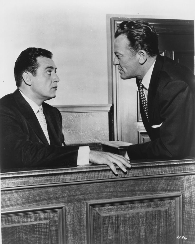 William Talman as Hamilton Burger cross examines Raymond Burr as Perry Mason. Photograph from CBS-TV.