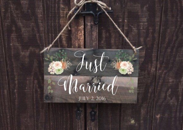 A personal favorite from my Etsy shop https://www.etsy.com/listing/386280296/just-married-sign-wedding-sign-on-aged