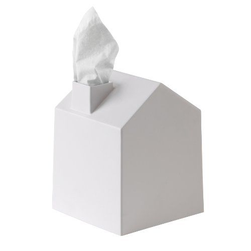 """Casa house-shaped tissue box cover by Umbra Constructed of molded polypropylene Tissue dispenses through """"chimney,"""" looks like a puff of smoke"""