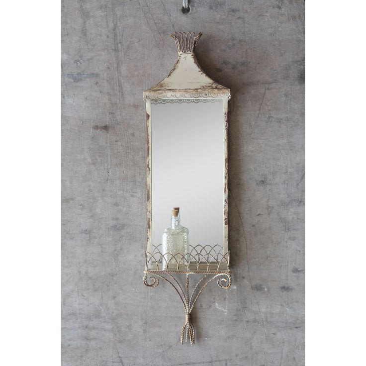"Creative Co-Op Cottage Mirror with Shelf. 33""x9.5"""