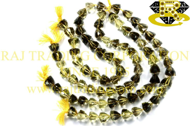 Bio Lemon Faceted Trillion (Quality AA) Shape: Trillion Faceted Length: 18 cm Weight Approx: 18 to 20 Grms. Size Approx: 9 to 10 mm Price $33.76 Each Strand