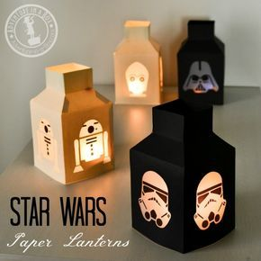 Star Wars Paper Lanterns: Make this simple Star Wars craft with paper, glue and parchment paper!