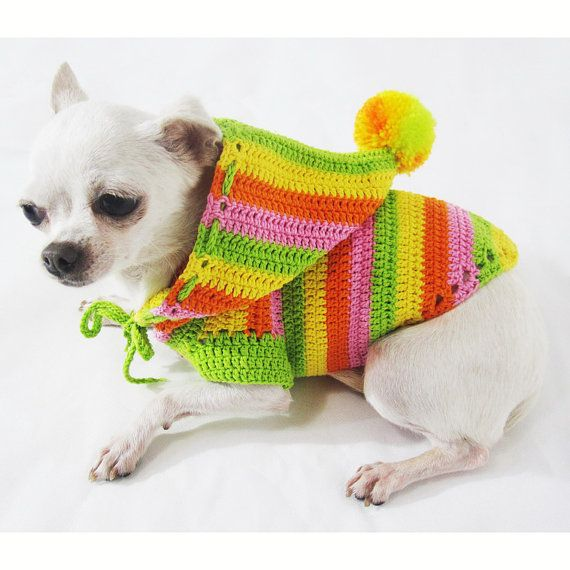 Dog Hoodie Sweatshirt Rasta Colorful Pet Clothing by myknitt
