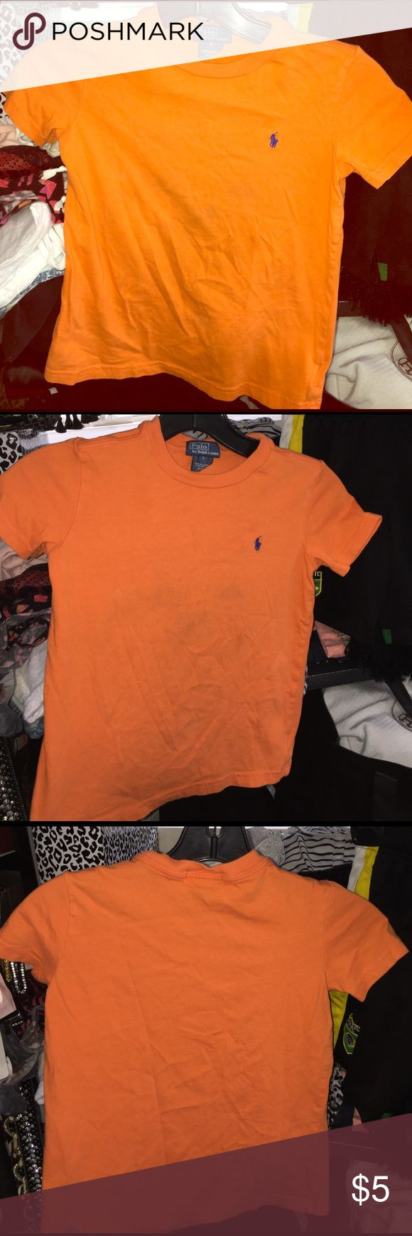 Orange polo by viviglam 👕👕 Boys orange polo shirt has some light spots not noticeable unless looking closely in great condition!!! Polo by Ralph Lauren Shirts & Tops Polos