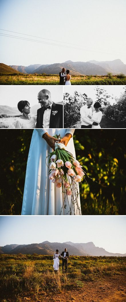 Outdoor wedding couple shoot in the between the mountains - with a tulip bouquet and long sleeved beaded wedding dress | Photography by Hayley Takes Photos |