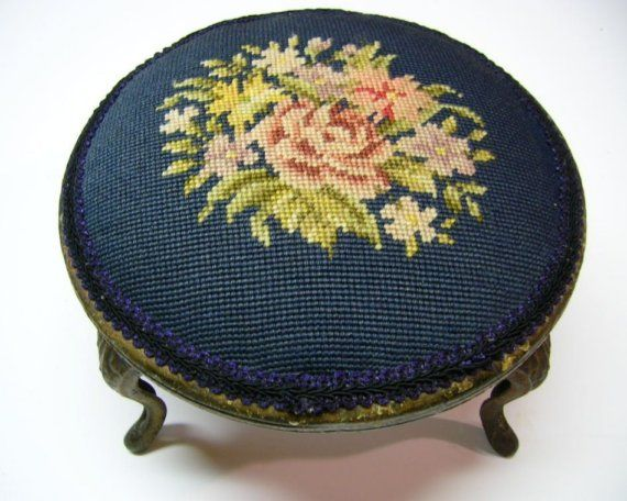Vintage Victorian Needlepoint Footstool by Cecil2 on Etsy, $92.00