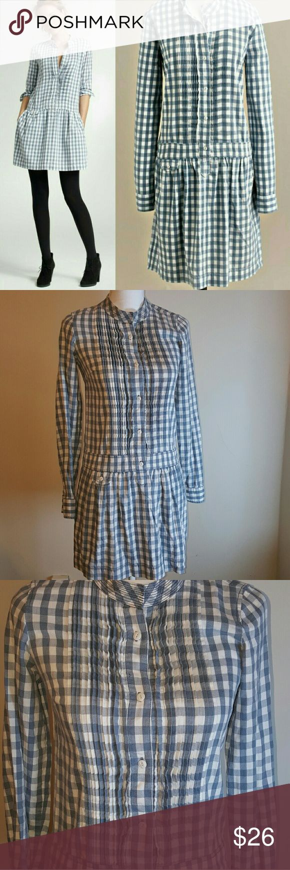 J.Crew Gingham Sundrine Flannel Shirtdress Super cute checkered flannel shirt dress from J. Crew with a drop waist. Is a size 00 but fits more like a 2. Sold out online. Preworn but no defects or stains. J. Crew Dresses