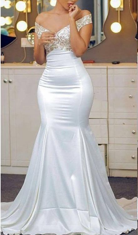 c540beb193c African Off The Shoulder Mermaid Evening Dresses Appliques Lace Satin  Backless