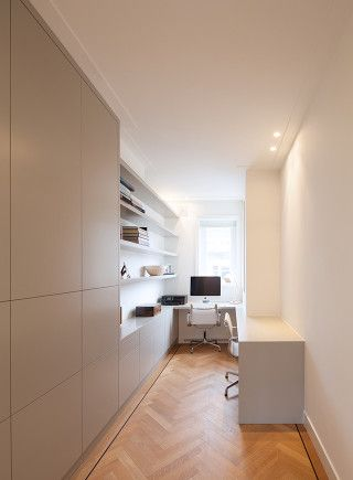Home office. Built in cabinets. Private home Amsterdam: interior design and project management by Heyligers design+projects. www.h-dp.nl