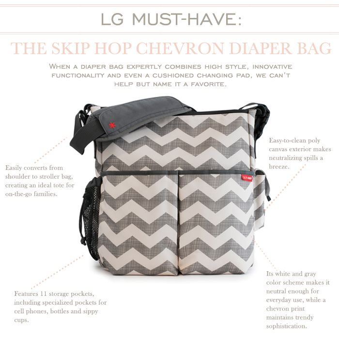 I Love The Skip Hop Chevron Diaper Bag! It hooks on to the stroller freeing your hands up! Very cool!