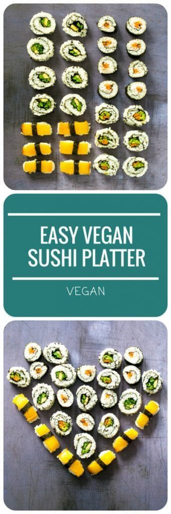 This Easy Vegan Sushi Platter is surprisingly simple to make, looks fabulous and tastes even better. What better to woo your vegan valentine? #vegan #valentinesday #plantbased