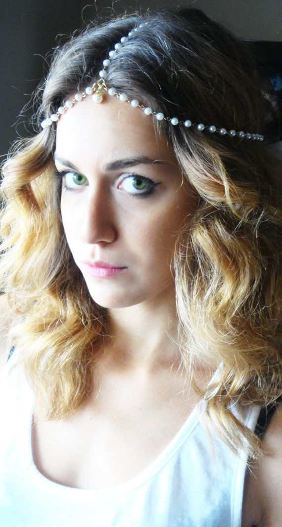 CHAIN HEADPIECE Head Chain, Vintage Head chain,Pearl headdress, gypsy head piece. Gold head chain Wedding accessories