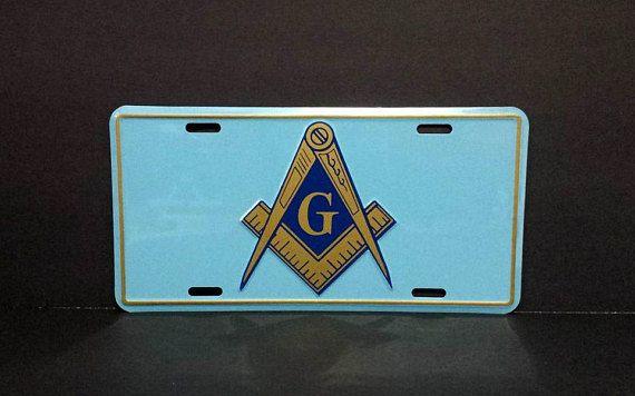 Freemasons Car License Plate Masonic Square and Compasses