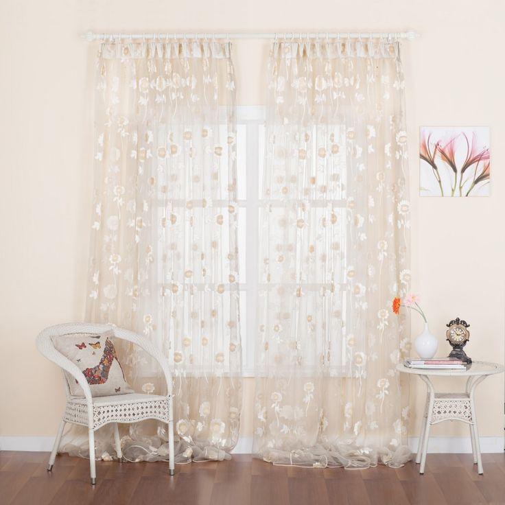 Floral Jacquard Country Sheer Curtain   #curtains #decor #homedecor #homeinterior #beige