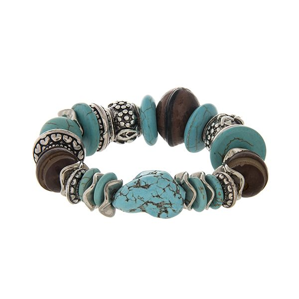 Beaded stretch bracelet with turquoise and brown beads and silver tone accents. | Shop Simply Southern Boutique