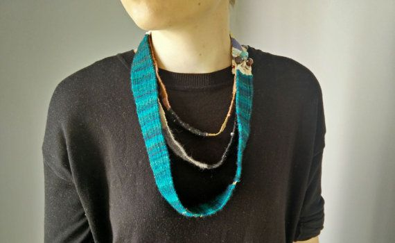 Woven turquoise saori inspired necklace at https://www.etsy.com/listing/463491772/saori-woven-multi-strand-necklace-petrol