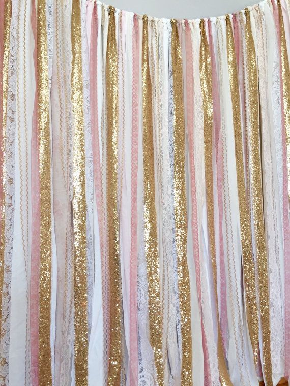 Pink & Gold Sparkle Sequin Fabric Backdrop with by ohMYcharley