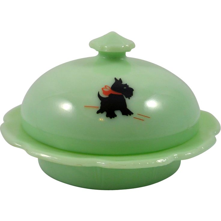 Vintage Jadedite Green Scottish Terrier with Red Bow Round Covered Butter Dish