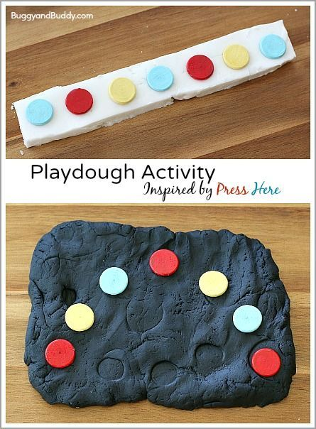 Play Dough Activity Inspired by the Children's Book, Press Here by Herve Tullet: Fun sensory activity for toddlers and preschoolers and great way to encourage creativity, sensory play, and patterning practice! ~ BuggyandBuddy.com