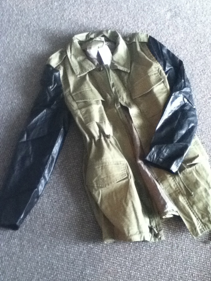 wholesale-dress.net haul and review, military jacket with leather sleeves
