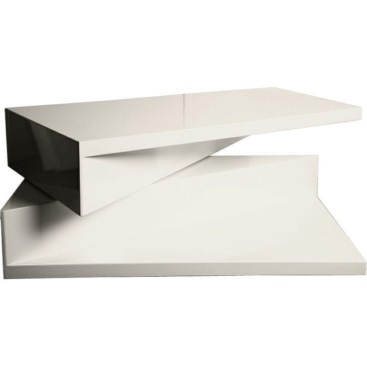 Push soffbord vit high gloss rektangel med vridfunktion | Soffb