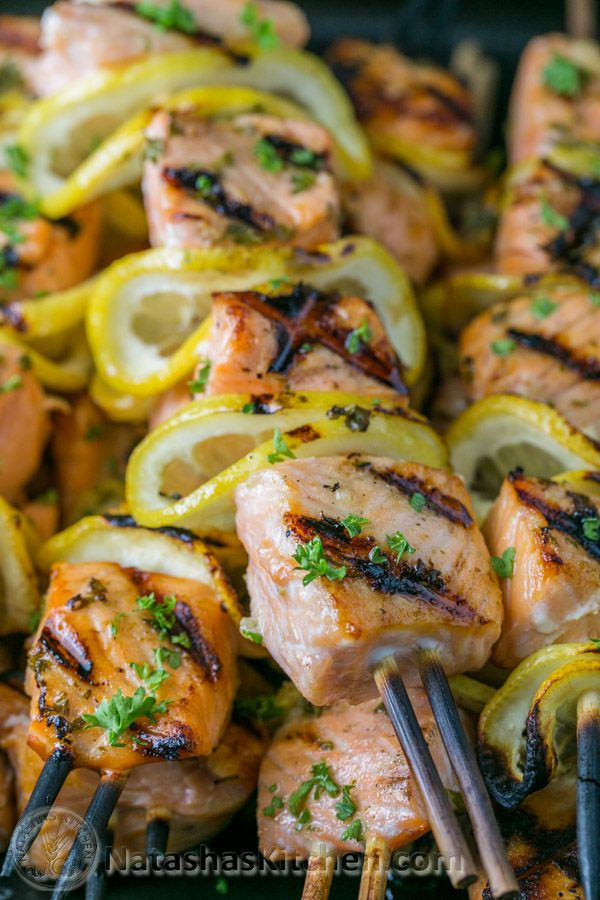 Grilled Salmon Skewers with Garlic and Dijon by natashaskitchen #Salmon…