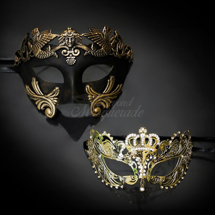 New! Couples Masquerade Masks His & Hers Masquerade Masks - Bestselling Gold Roman Mask and Laser Cut Masquerade Mask with Diamonds