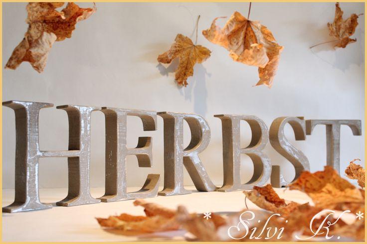 ... Handarbeit, Herbstdekoration, Holz, silber, grau, Shabby, Silvi K